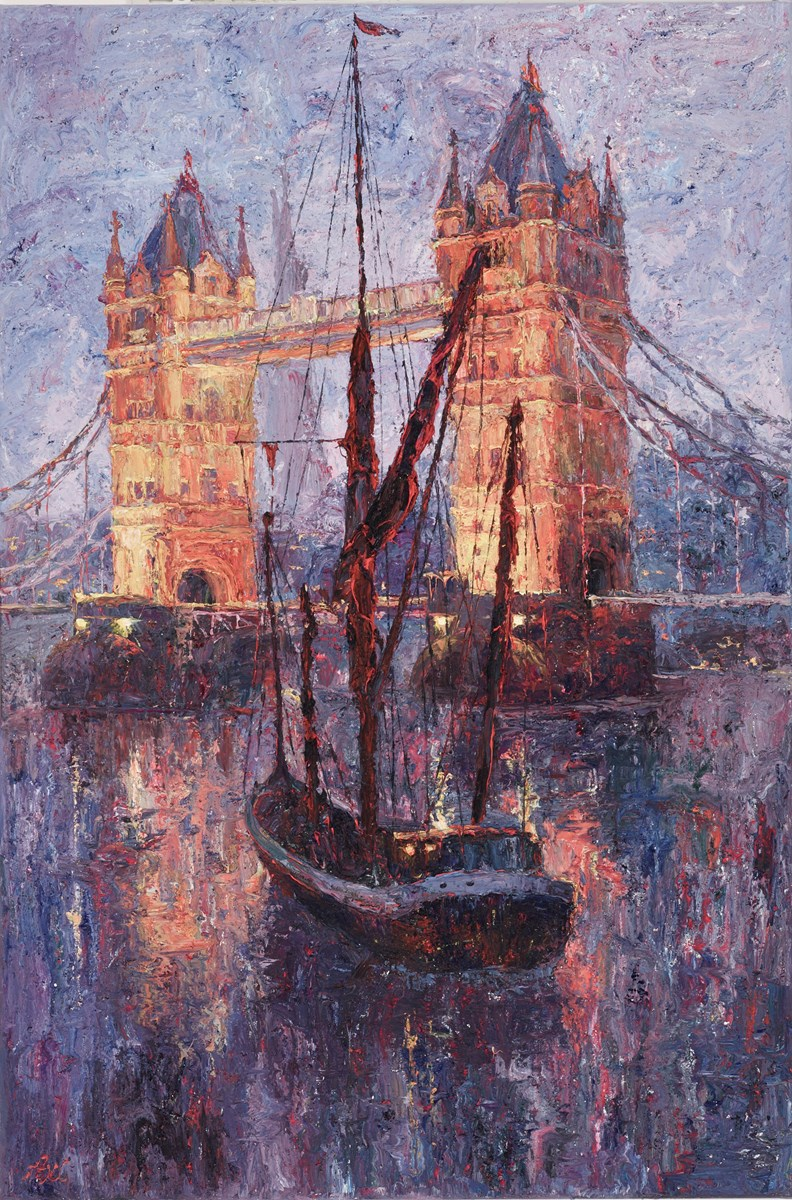 Sunset at Tower Bridge by lana okiro -  sized 24x35 inches. Available from Whitewall Galleries